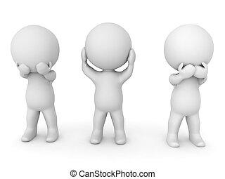 3D illustration depicting the see no evil, hear no evil, speak no evil concept
