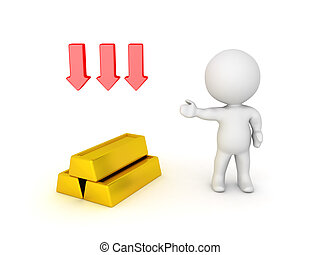 3D illustration depicting the depreciation in value of gold bullion