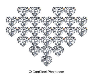 3D illustration diamond heart on a white background
