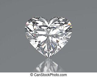 3D illustration diamond heart stone on a grey background