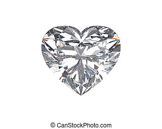 3D illustration diamond heart stone on a white background