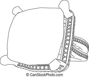 3D illustration Diamond ring