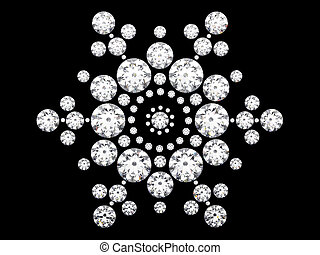 3D illustration diamond snowflake on black background