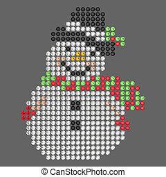 3D illustration diamond snowman on a grey background