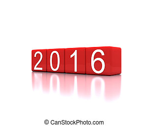 new year 2016 - 3D illustration - dice with new year 2016