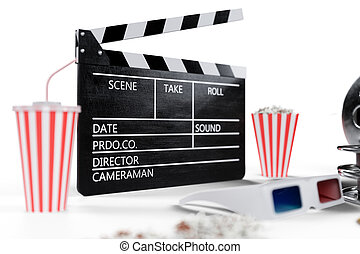 3D illustration, director chair, movie clapper, popcorn, 3d glasses, film strip, film reel and cup with carbonated drink isolated on white background. Cinema Industry Concept.