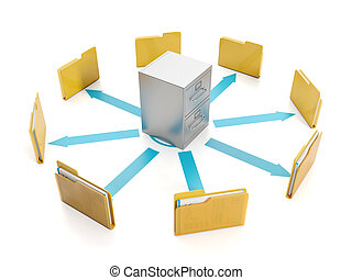 3d illustration, document storage. Storage boxes and folders to group round