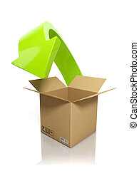 3d illustration: Downloading content. A cardboard box and an...