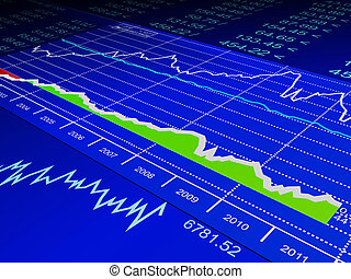 3d illustration: drawing from the sale of stock exchanges, business