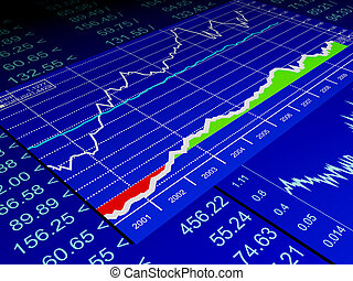 3d illustration: drawing from the sale of stock exchanges, ...