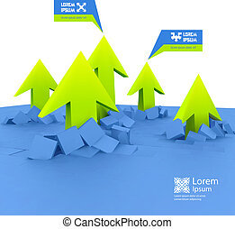 3D illustration - Arrows. Business concept background. 3D...