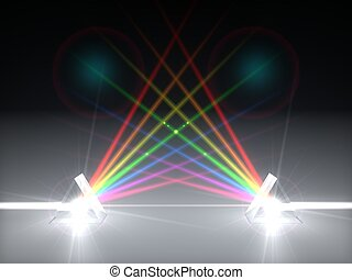 3d illustration dual prism and refraction light ray. - 3d ...