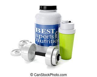 3d illustration: Dumbbells, shaker, sports nutrition, on a...