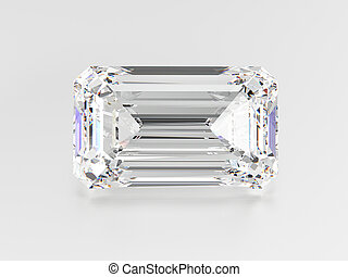 3D illustration emerald diamond stone