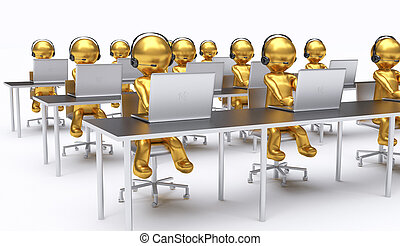 3D illustration, employees working in a call center.