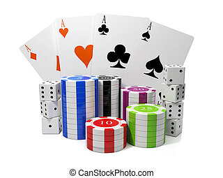 3d illustration: Entertainment gambling. Chips and playing cards with a group of cubes