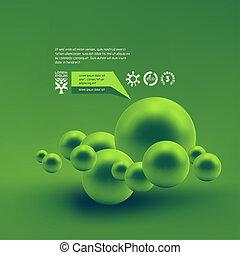 3d illustration. - Random spheres background. 3D...