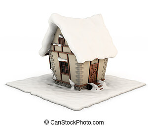 3d illustration fabulous house in the snow