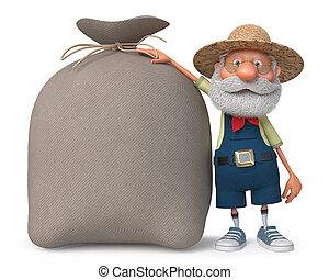 3d illustration farmer with a big bag