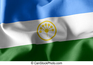 3D illustration flag of Bashkortostan is a region of Russia. Waving on the wind flag textile background