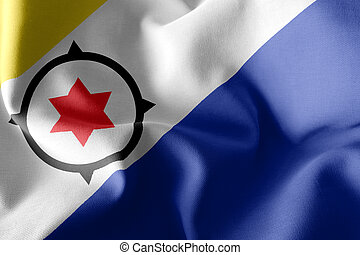3D illustration flag of Bonaire is a region of Netherlands. Waving on the wind flag textile background