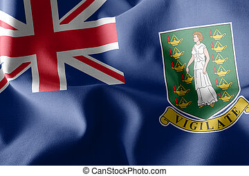 3D illustration flag of British Virgin Islands is a region of Un