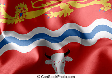 3D illustration flag of Herefordshire is a county of England. Waving on the wind flag textile background