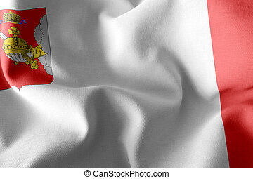 3D illustration flag of Vologda Oblast is a region of Russia. Waving on the wind flag textile background