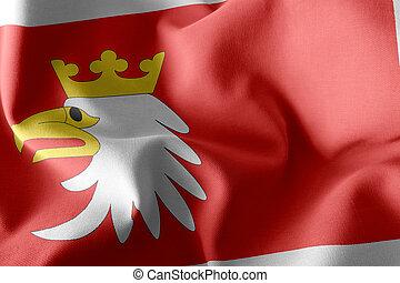 3D illustration flag of Warmia-Masuria Voivodship is a region of Poland. Waving on the wind flag textile background