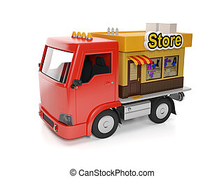 3d illustration: Food delivery to your door. Truck and Shop