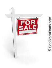 3D Illustration For Sale Real Estate Sign Isolated on White Background