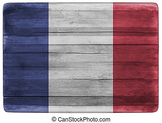 3d illustration France flag on wooden board