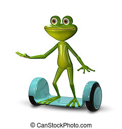 3d Illustration Frog on the Gyro Scooter