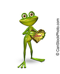 3D Illustration Frog with a Heart of Gold