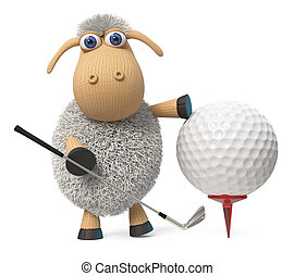 3d illustration funny sheep play golf