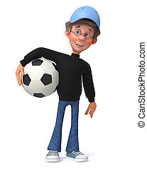3d illustration funny student with soccer ball