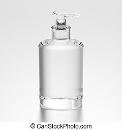 3D illustration glass bottle with liquid soap