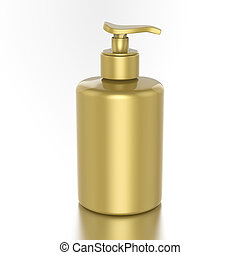 3D illustration gold bottle with liquid soap