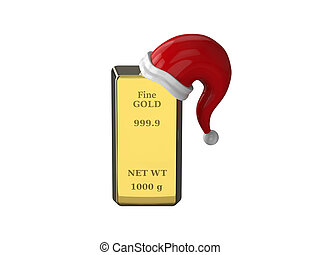 3D illustration gold bullion, gold bar with Santa Claus hat on a white background