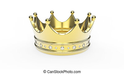 3D illustration gold crown tiara with diamonds