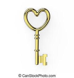 3D illustration gold key