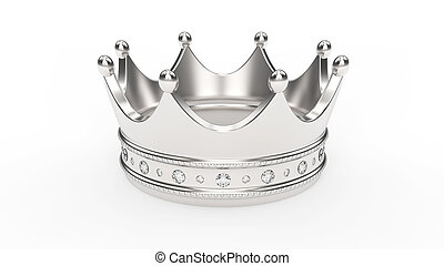 3D illustration gold silver crown tiara with diamonds
