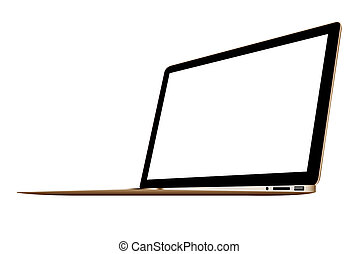 3D illustration Gold Slim Laptop isolated on white background
