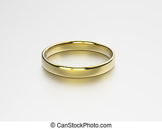 3D illustration gold wedding ring