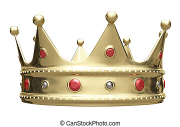 3D illustration, golden crown isolated on white.