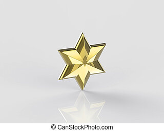 3D illustration golden star on a gray background