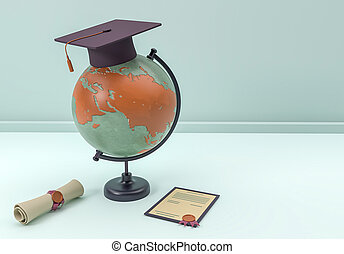 3D Illustration. Graduation cap and diploma with globe.