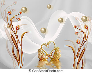 3d illustration, gray background, pearls, white waves, brown fairy flowers, golden swans are reflected in the water