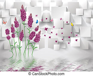 3d illustration, gray background, purple lavender flowers, rectangles, flying colorful butterflies, reflected in the water