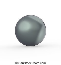 3D illustration green black pearl with a shadow on a white background
